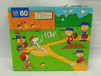 Vintage MB Peanuts 60 Piece Jigsaw Puzzle Baseball Charlie Brown Snoopy COMPLETE
