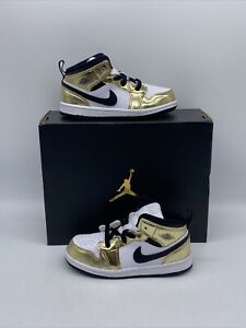 """Air Jordan 1 Mid SE (TD) """"Metallic Gold"""" Child Size 10c DC1424 700"""