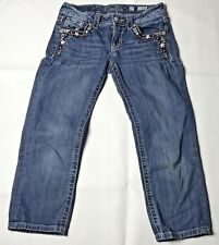 Miss Me Cuffed Capri Jeans 27 July 4th Patriotic Red Blue Stars Embellished Flaw