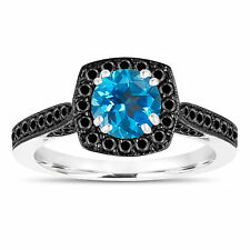 1.31 Carat Blue Topaz Engagement Ring 14K White Gold Halo Pave