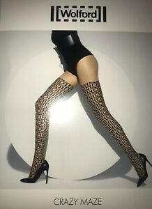 Wolford Crazy Maze Tights Color:  Sahara/Black Size: Small 18871 - 12