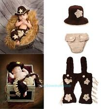 3pcs Newborn Baby Infant Crochet Knit Cowboy Costume Photography Props Clothes