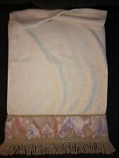 CROSCILL PINK GOLD TAN DAMASK FRINGED (2) HAND TOWELS 16 X 28