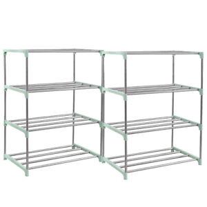 4-8 Tier Metal Shoe Rack Organizer Shelf Holder Adjustable Closet Space Saving