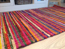 WOVEN CHINDI LOOMED RAG RUGS STRIPED RECYCLED COTTON MAT FAIR TRADE 70X140CM
