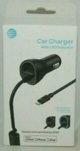 OEM AT&T Certified 3.4 Amp Car Charger with LED Indicator for Apple iPhone iPad