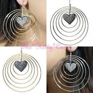 Multi Layered Spiral Drop Heart Pendant Hoop Style Earrings w/ Swarovski Crystal