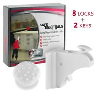 Safe Essentials-Magnetic Cabinet Locks Child Safety, Invisible, (8 Pack)