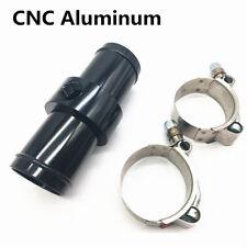 CNC Aluminum Inline Radiator Hose Temperature Sensor Adapter 3/8 NPT+Hose Clamps