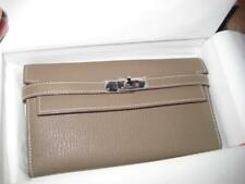 AUTH NEW IN BOX HERMES KELLY LONG WALLET TOGO ETOUPE COLOR SILVER HARDWARE