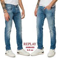 Jeans da uomo REPLAY slim ANBASS  comfort denim leggero 9.5 oz vintage M914Y 115
