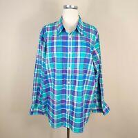 Chaps Ralph Lauren 2X No-Iron Plaid Button Up Shirt Top Lon Sleeve Plus Size
