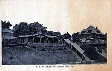 VINTAGE POSTCARD OF THE P.R.R. TRAIN STATION IN SHARON HILL, PA - UN-POSTED-RARE