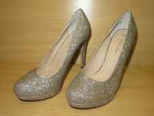 NEW LOOK GOLD METALLIC SPARKLE GLITTER HIGH SLIM  HEELED PLATFORM SHOES UK 6