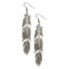 Montanta Silversmiths Antiqued Silver Plume Feather Dangle Earrings ER1618RTS