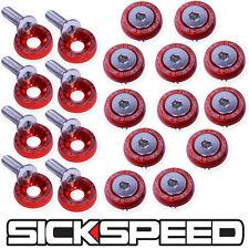 RED 20 PC BILLET ALUMINUM FENDER/BUMPER WASHER/BOLT ENGINE BAY DRESS UP P3
