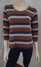 Rayon Striped 3/4 Sleeve Knit Tops for Women