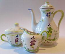 Rare Moustiers by Longchamp France Faience TeaPot/Espresso Set MINT