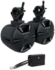 "(2) Alpine SPV-65-SXS 6.5"" Tower Rollbar Rollcage Speakers + MB Quart Amplifier"