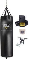 Boxing Punching Heavy Bag Kit 70 lbs. Gloves Hand Wraps Mount Hardware Gym New