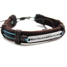 Boy Brown PU Leather Weave Band Wrist Hand Wrap Chain Bracelet Wristband Decor