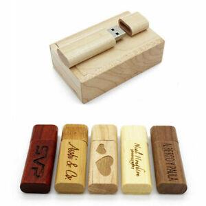 Wooden USB 2.0 Flash Drive Engraved Custom Wedding Day Storage Pendrive 32GB 8GB