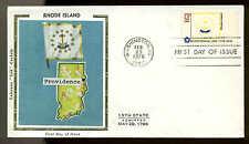 "New listing U.S. #1645 Fdc Colorano ""Silk"" Cachet Washington, Dc Rhode Island Flag"