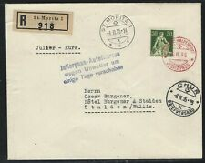 1935 Switzerland Winteralpenpost Registered Cover - Julierpass Closed/Redirected