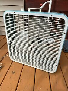 """Vintage Kmart Box Fan Blue 22"""" Whisper Quiet, Metal blades Made By Lakewood USA"""