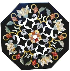 18 Inches Marble Corner Table Top Inlay End Table with Multicolor Gemstones Work