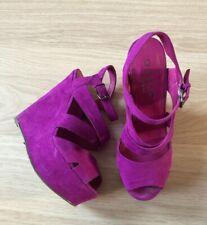 Office Purple Pink Suede Heels Shoes Wedge Size UK 4