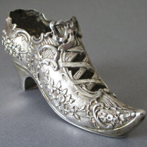 "Antique European 800 SILVER Pierced ROCOCO 4.5"" French Lady's SHOE 45g * Marked"