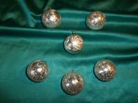 ~ 6 alte Christbaumkugeln Glas Eislack silber Vintage Weihnachtsbaumkugeln CBS ~