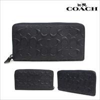 Coach Men's Wallet F58113 Accordion Zip Around Wallet Black NWT