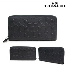 Coach Men's Wallet F58113 Accordion Zip Around Wallet Black NWT