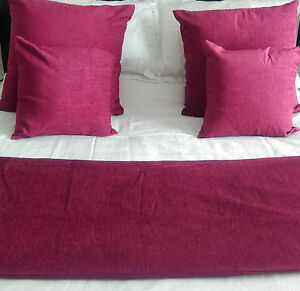 CLARET BURGUNDY PLAIN CHENILLE HOTEL BED RUNNERS&MATCHING CUSHIONS IN ALL SIZES