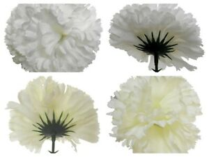 144 faux silk white or ivory carnation picks buttonholes/wreath making freepost
