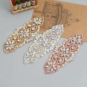 Beaded Rhinestone Diamante Applique Headband Bridal Waist Belt Wedding Dress
