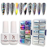 17 Nail Art Foil Kit Glue Gel Foil Stickers Set Nail Transfer Tips Manicure Art
