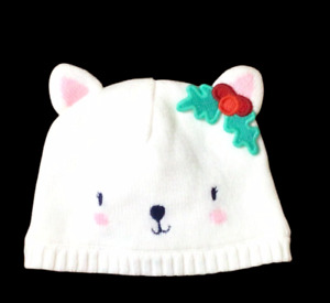 `Gymboree Holiday Shop White Lined Bear Beanie Sweater Hat Sz 0-6 Months NWT