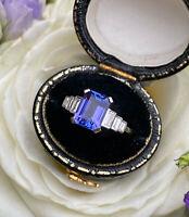 Art Deco Tanzanite and Diamond Ring Platinum 0.30ct + 1.65ct