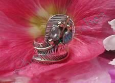 Ring Schlange Kobra Mondstein Sterling Silber 925 zweifarbige Fassung 17,5 mm