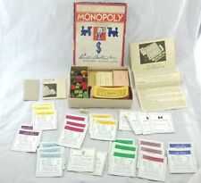1935 Monopoly Game Parker Brothers.Wood Houses Cards Money 8mm dice instructions