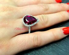 14k Solid White Gold Engagement Ring With Simulated Diamonds & Lab Created Ruby