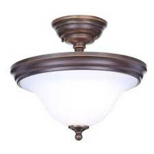 "Somerset 13"" 2-Light Bronze Semi-Flush Mount with Bell Shaped Frosted GEX8212A"