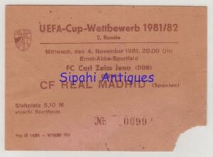 FC CARL ZEISS JENA - REAL MADRID 1981 UEFA CUP MATCH SOCCER FOOTBALL TICKET