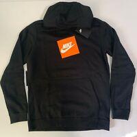 Nike Sportswear Logo Top Mens Pullover Hoodie Black Size M Casual Sweatshirt