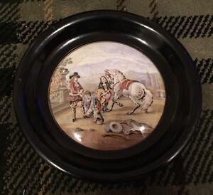 Lovely Victorian Framed Pratt Ware Pot Lid - Preparing For The Ride