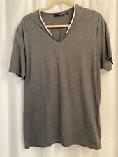 Mens Murano Sz.Xl Short Sleeve Slim Fit Gray w/ White Trim V-Neck Pullover Shirt