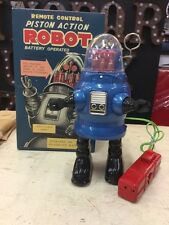 TIN TOY SPACE PISTON ROBOT ROBBY B9 LOST IN SPACE BLUE ROBOT BOX